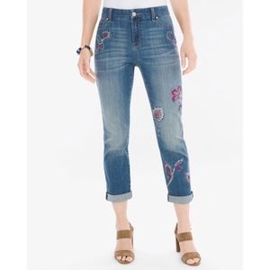 Chico's The Platinum Crop Embroidered Jean